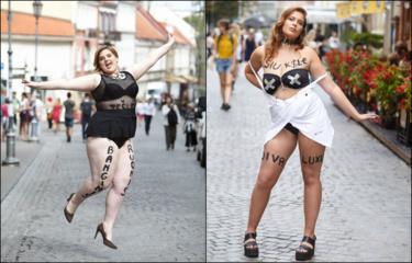 """Pirmasis plius dydžio gražuolių iš """"Dydžio (r)evoliucijos"""" išbandymas: apkūnios merginos pusnuogės turėjo pozuoti sostinės gatvėse"""