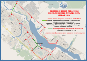Svarbi informacija: liepos 20 dieną Širvintose ribojamas eismas