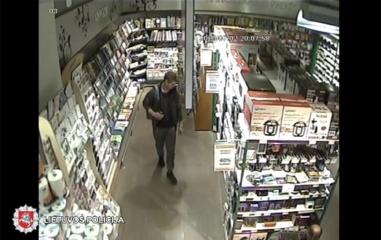 Policija prašo padėti atpažinti asmenį, kuris pavogė prekių