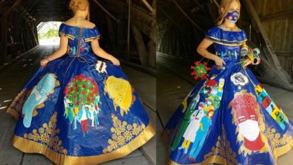 Koronavirusas visur: net suknelė sukurta jo tematika