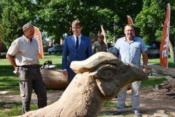 Šunskai pasipuoš medžio skulptūromis