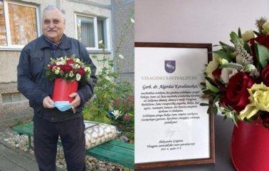 Savivaldybės vadovai pasveikino gerb. Dr. A. Kavaliauską garbaus jubiliejaus proga