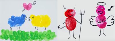 Su pirštais. Ant balto popieriaus lapo palikite skirtingų spalvų pirštų atspaudus ir juodu markeriu išgryninkite piešinį.
