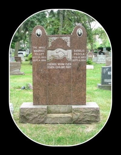 """Kartu. Lietuvis Karolis Požėla ir Šreko prototipas Mauricijus Tilletas mirė tą pačią dieną. Ant jų kapo antkapio parašyta: """"Ir mirtis negali išskirti dviejų draugų."""" (Findagrave.com nuotr.)"""