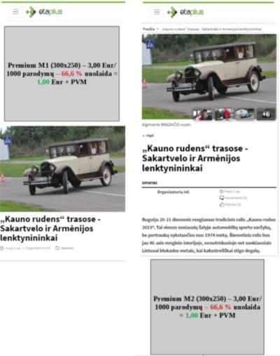 """Etaplius """"Premium"""" mobilaus įrenginio ekrano reklamos vietų vizualizacija"""