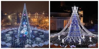 Vilniaus miesto eglė 2018 metais (kairėje) ir šiemet