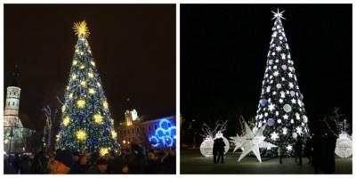 Šiaulių miesto eglė 2018 metais (kairėje) ir šiemet