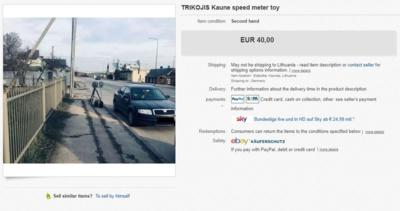 """Skelbimas apie parduodamą """"trikojį"""" """"eBay"""" internetiniame aukcione / """"Kas vyksta Kaune"""" nuotr."""