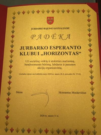 """Padėka Jurbarko esperanto klubui """"Horizontas"""""""