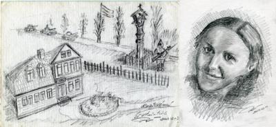 Atmintis popieriuje. R. Baltučio piešiniuose vaizduojamas kryžkelėje pre koplytstulpio stovintis kareivis ir J. Petniūnaitė.