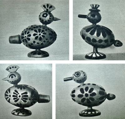 Švilpukai. Visi jie rasti Šiauliuose. Žinomi ir autoriai – broliai Vilimai (1931 m.). Žavūs švilpukai sukurti paukščių formos, kiekvienas iš jų padailintas, pamargintas.