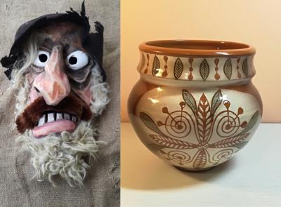 Sauliaus Tamulio kaukė ir Virgilijos Silvestros Šufinskienės keramikos darbas