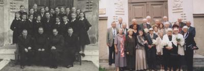 Baigę 10 klasių 1954 m. ir susitikę 2005-aisiais, prabėgus 50 metų nuo mokyklos baigimo.