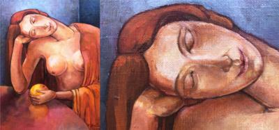 """Moters pasaulis. """"Moteris su apelsinu"""". (Violetos Bulavienės asmeninio archyvo nuotr.)"""
