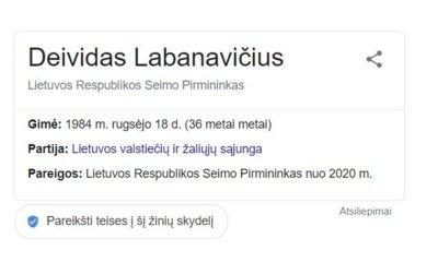 """""""Google"""" išrašas apie D. Labanavičių."""