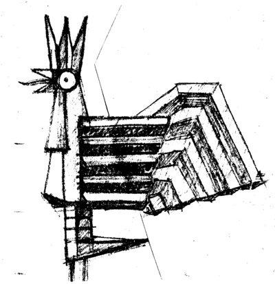 """išgirdau skulptoriaus Donato Lukoševičiaus, buvusio Šiaulių miesto vyr. dailininko, kritiką: """"Tas tavo gaidys primena kumeliuką"""", – prisimena  V. Puronas.  (Viliaus Purono asmeninio archyvo nuotr.)"""