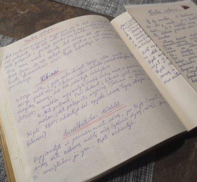 Mylimiausi mamos receptai surašyti ranka senoje knygoje.