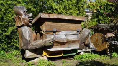 Kadangi bičių aviliai stovi tame pačiame sklype, jie įsiliejo į sodo kompoziciją lyg mažoji architektūra. Nagingas meistras kiekvienam spiečiui pastato vis kitokio dizaino avilį. (Audronio Rutkausko nuotr.)