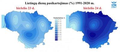 Lietingų dienų pasikartojimas 1991-2020 m. LHMT pav.