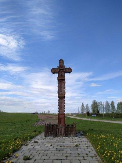 Linkmenų kryžius žymi demarkacinę liniją. Nuotrauka iš internetinio puslapio Ignalina