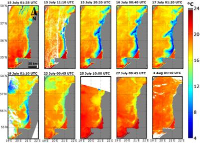 2 pav. Didžiausio apvelingo pietryčių Baltijos jūroje formavimasis 2006 m. vasarą remiantis NASA MODIS palydoviniais jūros paviršiaus temperatūros duomenimis.