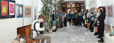 Pasvalio muzikos mokykloje buvo pristatyta Biržų Vlado Jakubėno muzikos mokyklos Dailės skyriaus mokinių darbų paroda. Aidos GARASTAITĖS nuotr.